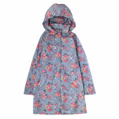 SHOWER RESISTANT LONG RAINCOAT THORP FLOWERS SKY BLUE S