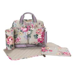 PREMIUM DOUBLE POCKET NAPPY BAG NORFOLK ROSE STONE