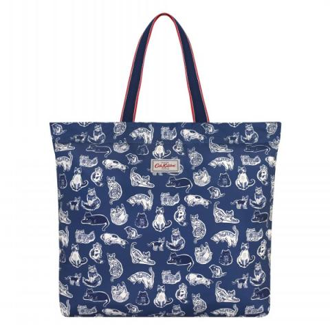 LARGE FOLDAWAY TOTE SQUIGGLE CATS