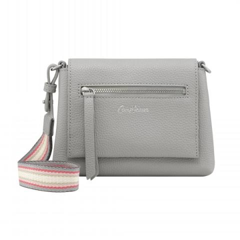 BARTON LEATHER CLUTCH SOLID SOFT GREY