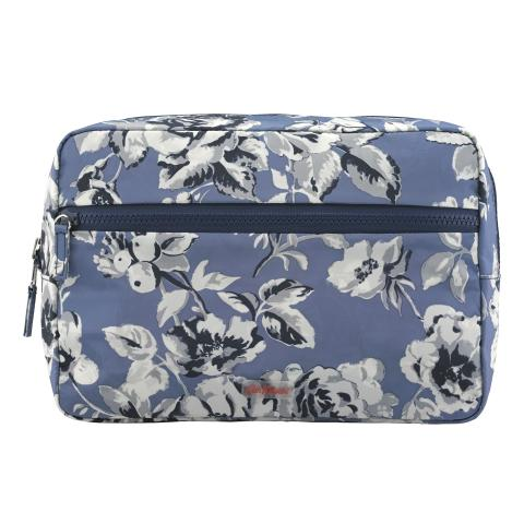 REVERSIBLE LEISURE COSMETIC BAG ETCHED FLORAL PERIWINKLE