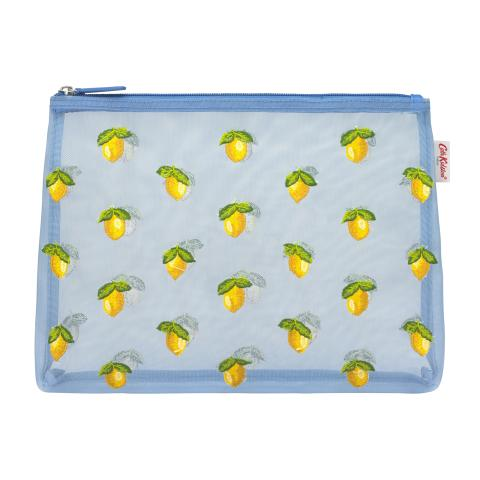 EMBROIDERED MESH POUCH LEMONS LITTLE LEMONS RIVIERA BLUE