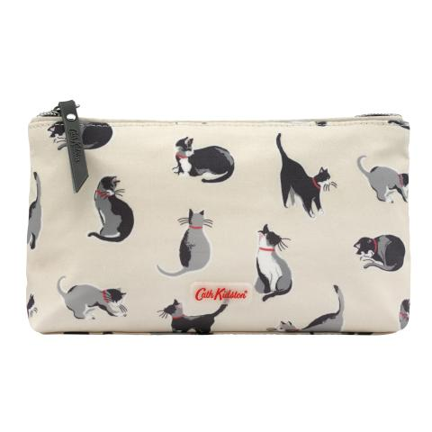 MATT ZIP MAKE UP BAG SMALL PAINTED CATS CREAM