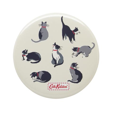 POCKET MIRROR SMALL PAINTED CATS CREAM