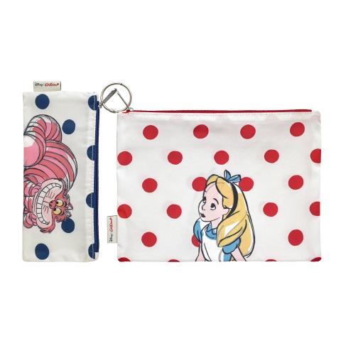 ALICE AND FRIENDS PL01 CREAM LIGHT RED DISNEY POLY POUCH SET OF 2