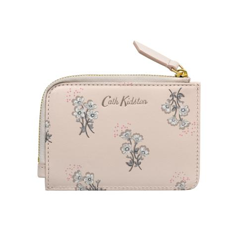 PRINTED SMALL LEATHER CURVED CARD PURSE SMALL BUTTERCUP BUNCH SHELL PINK