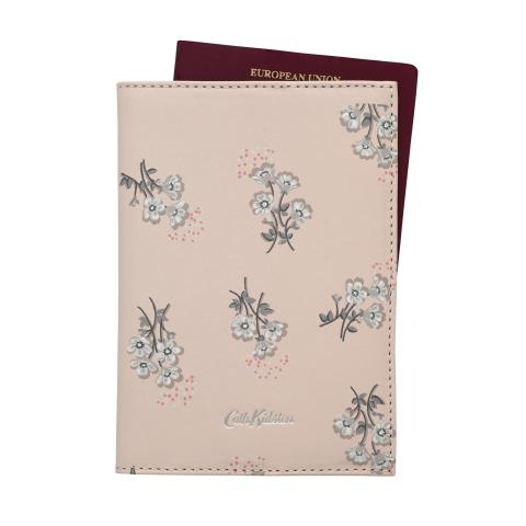 PRINTED LEATHER PASSPORT HOLDER  SMALL BUTTERCUP BUNCH SHELL PINK