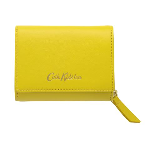 SMALL LEATHER COMPACT WALLET SOLID GOLDEN YELLOW