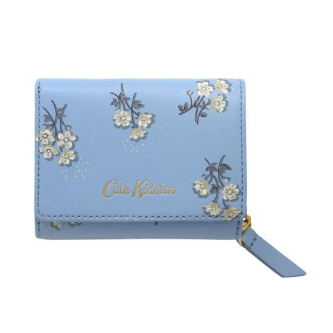 PRINTED SMALL LEATHER COMPACT WALLET SMALL BUTTERCUP BUNCH CORNFLOWER