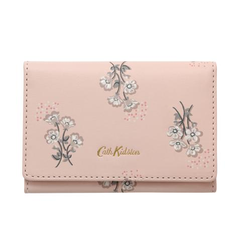 PRINTED LEATHER BUSINESS CARD HOLDER SMALL BUTTERCUP BUNCH SHELL PINK