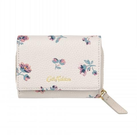 PRINTED SMALL LEATHER COMPACT WALLET YORK DITSY ECRU