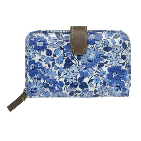 FOLDED ZIP WALLET WELHAM FLOWERS CREAM BLUE