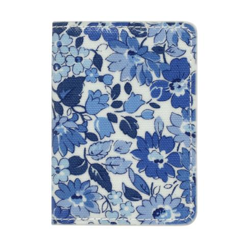 TWO-FOLD TICKET HOLDER WELHAM FLOWERS CREAM BLUE