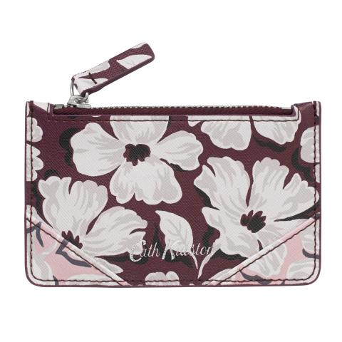 CARD HOLDER ZIP PURSE STAMP FLORAL BURGUNDY