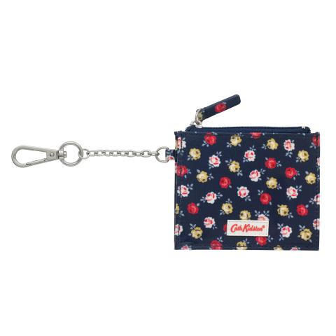 SIDE PLEAT PURSE W/KEY CHAIN LUCKY ROSE NAVY