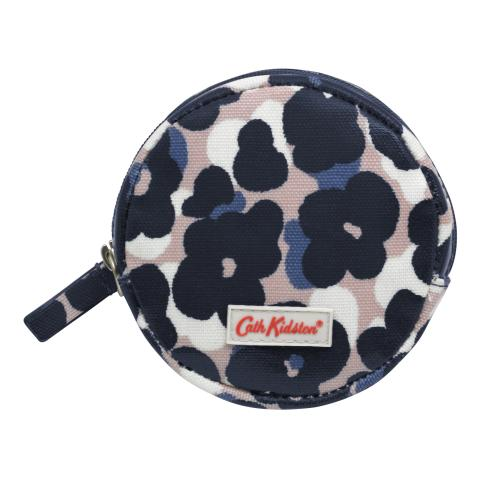 CIRCLE COIN PURSE LEOPARD FLOWER PLASTER PINK NAVY
