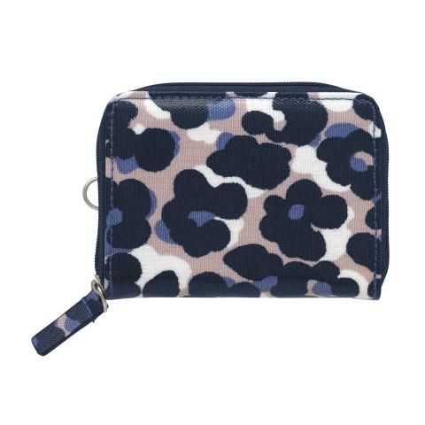 ZIPPED TRAVEL PURSE LEOPARD FLOWER PLASTER PINK NAVY