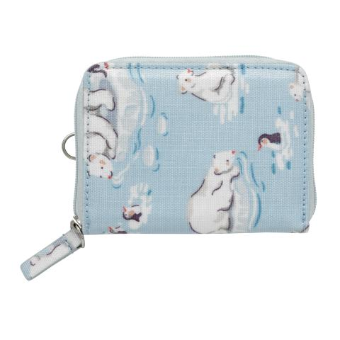 ZIPPED TRAVEL PURSE SMALL POLAR BEAR ICE BLUE