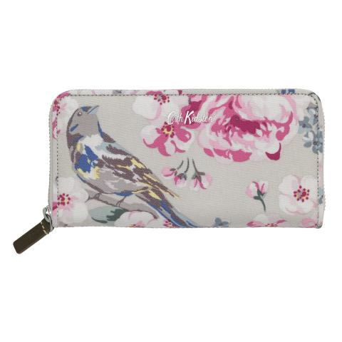 CONTINENTAL ZIP WALLET MEADOWFIELD BIRDS FAWN
