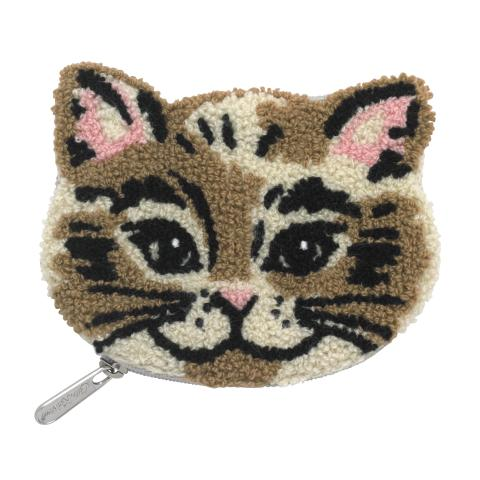 BOUCLE CAT COIN PURSE CATS LIGHT GREY