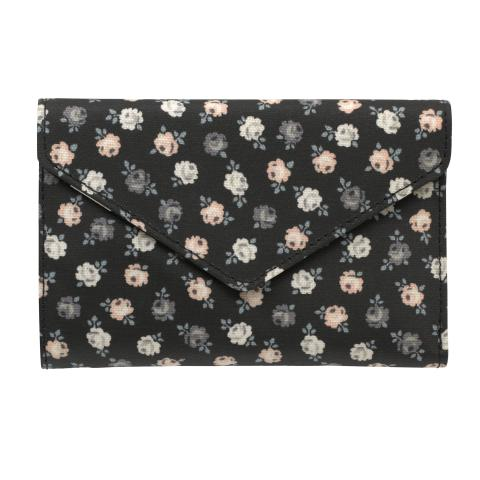 ENVELOPE Z FOLD WALLET LUCKY ROSE CHARCOAL