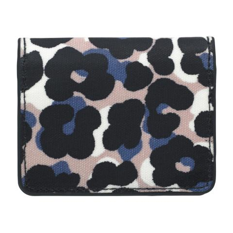 CARD PURSE O/C LEOPARD FLOWER PLASTER PINK NAVY