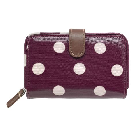 FOLDED ZIP WALLET BUTTON SPOT BURGUNDY
