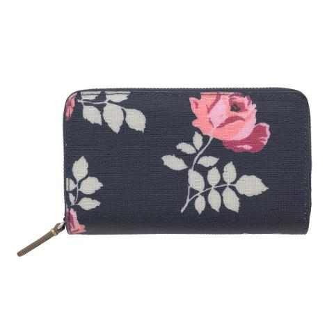 DOUBLE ZIP PURSE TEXTURED BROOKE ROSEBUD NAVY