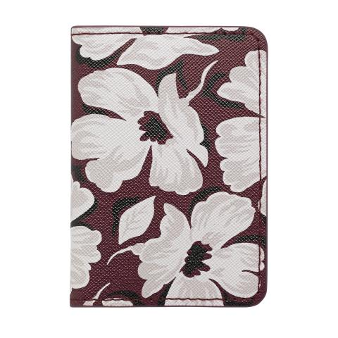 PU TWO-FOLD TICKET HOLDER STAMP FLORAL BURGUNDY