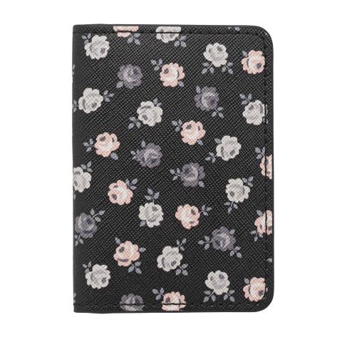 PU TWO-FOLD TICKET HOLDER LUCKY ROSE CHARCOAL