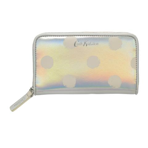 SMALL CONTINENTAL WALLET PU SMUDGE SPOT SILVER