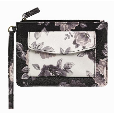 WRISTLET PURSE OAKWORTH BLOOM DARK CHARCOAL