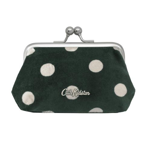 VELVET CLASP PURSE BUTTON SPOT DEEP GREEN