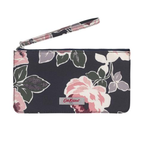 LARGE PHONE PURSE PAPER ROSE GRAPHITE GREY