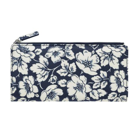 LARGE FOLDED CARD PURSE DIDWORTH FLOWERS NAVY
