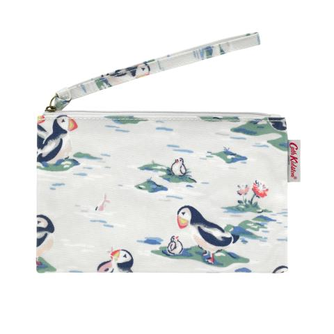 ZIP PURSE WITH WRIST STRAP PUFFINS STONE