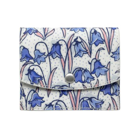 CONCERTINA FOLD OVER CARD WALLET BLUEBELLS CREAM BLUE