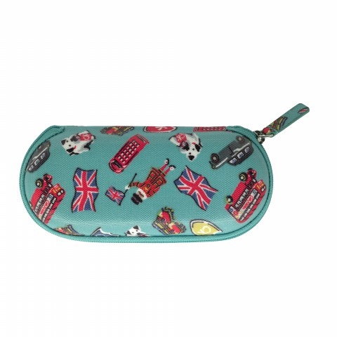 ZIP AROUND GLASSES CASE LONDON STAMPS BRIGHT TEAL