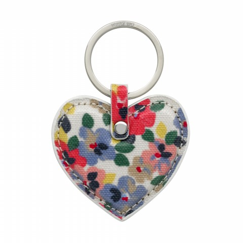 HEART KEY FOB O/C PAINTED PANSIES PINK MULTI