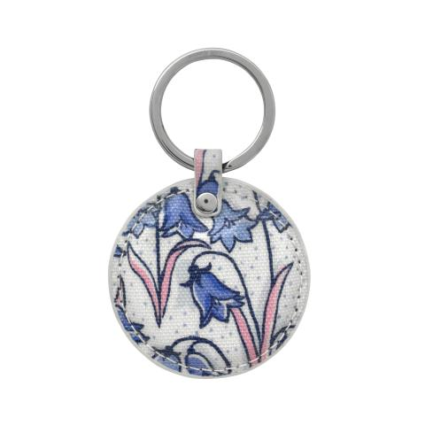 ROUND KEY FOB BLUEBELLS CREAM BLUE