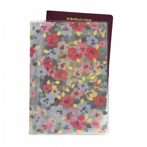 PVC PASSPORT HOLDER PAINTED PANSIES CLEAR