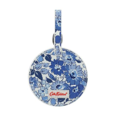 ROUND LUGGAGE TAG O/C WELHAM FLOWERS CREAM BLUE