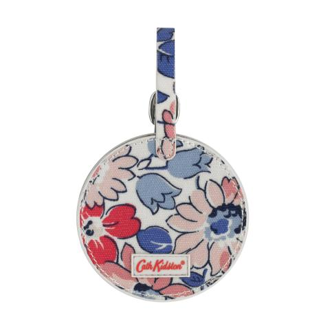 ROUND LUGGAGE TAG O/C LARGE WELHAM FLOWERS STONE MULTI