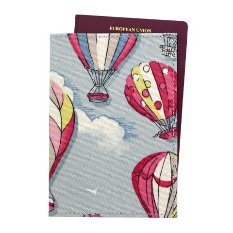 PASSPORT HOLDER O/C HOT AIR BALLOONS DUSTY BLUE