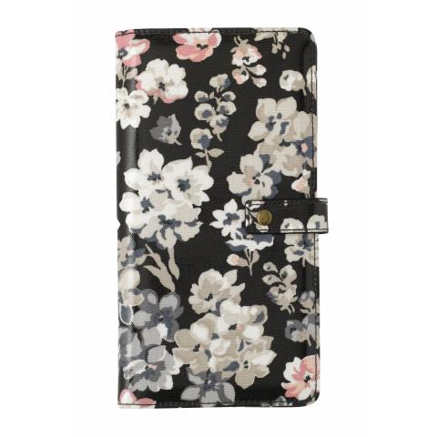 TRAVEL WALLET W/ DETACHABLE PURSE WOODSTOCK FLOWERS CHARCOAL