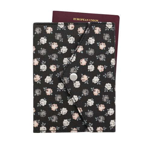 ENVELOPE DETAIL PASSPORT HOLDER LUCKY ROSE CHARCOAL