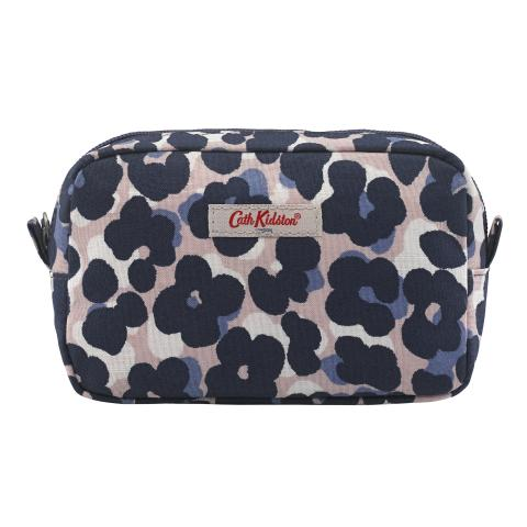 SMALL TRAVEL POUCH LEOPARD FLOWER PLASTER PINK NAVY