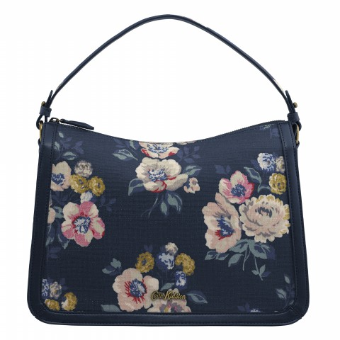 EMBOSSED LUCKY SHOULDER BAG WINDFLOWER BUNCH NAVY