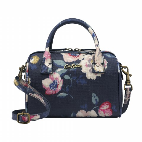 TINY EMBOSSED BOWLER BAG WINDFLOWER BUNCH NAVY