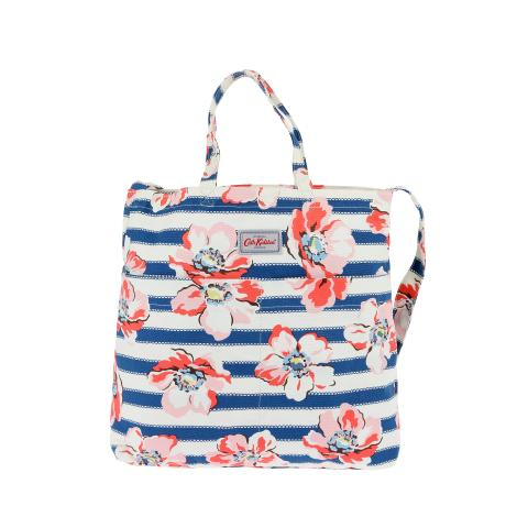DOUBLE HANDLE COTTON BAG LARGE ANEMONE STRIPE NAVY